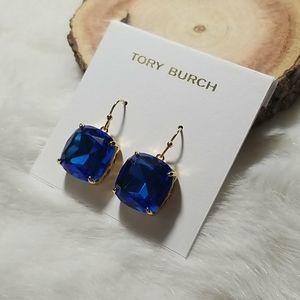 Tory Burch blue crystal drop earrings
